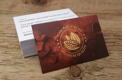 Uncoated Gold Foil Business Cards
