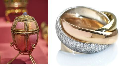 Rose Gold Fabergé Egg and Cartier Ring
